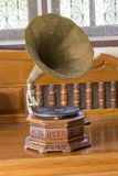 Antique gramophone. On the table in house Royalty Free Stock Images