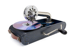 Antique gramophone. With modern compact disk Royalty Free Stock Image