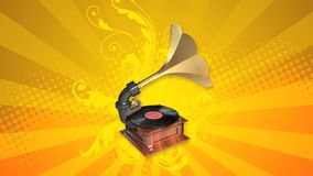 Antique gramophone. In 3D loop stock footage