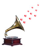 Antique Gramophone with Hearts. Isolated with clipping path Royalty Free Stock Images