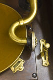 Antique Gramophone Phonograph 6. Vintage Gramophone Phonograph Closeup With Turntable and Needle stock photo