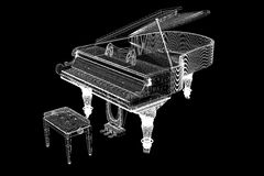 Antique grand Piano with path Royalty Free Stock Image