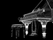 Antique grand Piano with path. Antique grand  Piano with path, 3D model body structure, wire model Royalty Free Stock Image