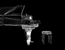 Antique grand Piano with path Royalty Free Stock Photography