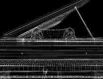 Antique grand Piano with path. Antique grand  Piano with path, 3D model body structure, wire model Stock Images