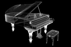Antique grand Piano with path Royalty Free Stock Photos