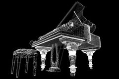 Antique grand Piano with path Stock Images
