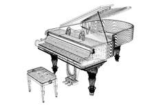 Antique grand Piano with path Stock Photo