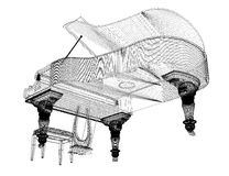 Antique grand Piano with path. Antique grand  Piano with path, 3D model body structure, wire model Stock Photos