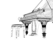 Antique grand Piano with path. Antique grand  Piano with path, 3D model body structure, wire model Royalty Free Stock Photo