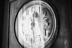 Antique grandfather clock, black and white photo Stock Photo