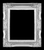 Antique gray frame isolated on black background.  Stock Photos