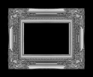 Antique gray frame isolated on black background, clipping path.  Stock Photography