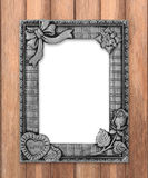 Antique gray frame on wooden wall background Royalty Free Stock Photography
