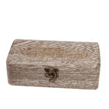 Antique gray wooden brown caskets box isolated on Royalty Free Stock Photo