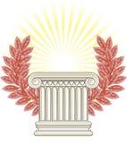 Antique Greek Column and bronze Laurel. Vector illustration Stock Illustration