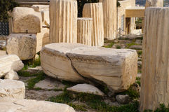 Antique greek column in Parthenon,Athens. Royalty Free Stock Photography