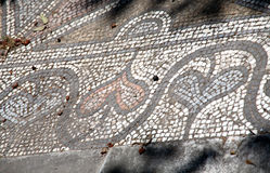 Antique Greek mosaic. With heart pattern Royalty Free Stock Images