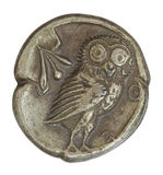 Antique Greek Silver Coin from 566 BCE Stock Photos