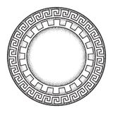 Antique greek style meander ornanent hand drawn line art and dot work round frame design vector illustration. Royalty Free Stock Photos