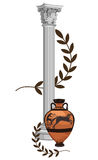 Antique Greek Symbols. Antique Greek columns with amphora and olive branch Stock Photography
