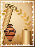 Antique Greek Symbols. Illustration with antique Greek columns, vase and olive branch Royalty Free Stock Photo