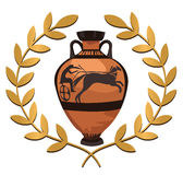 Antique Greek Vase. Antique Greek amphora and olive branch isolated on white Royalty Free Stock Photo