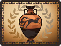 Antique Greek Vase. Illustration with antique Greek vase and olive branch Stock Photos