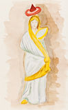 Antique Greek woman in himation Royalty Free Stock Photos