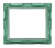 antique green frame isolated on white background, clipping path Royalty Free Stock Photography
