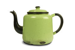 Antique green kettle Royalty Free Stock Photo