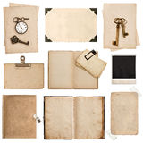 Antique grungy paper sheets, books and photo frames Royalty Free Stock Images