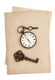 Antique grungy paper sheets with clock and key Royalty Free Stock Photography