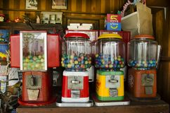 Antique Gumball Machine - Capsule Toy thai style. For people and travelers playing at retro shop on June 8, 2017 in Nonthaburi, Thailand stock images