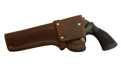 Antique gun in a holster Royalty Free Stock Photo