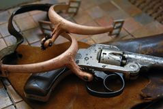 Antique/Gun,Holster,Spurs Stock Images