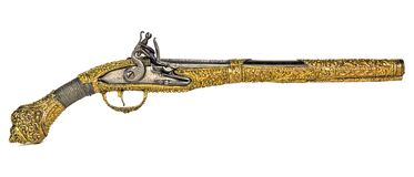 Free Antique Gun, Old Pistol, Golden, Isolated White Background Stock Images - 166525904