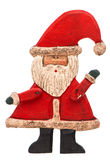 Antique hand made toy Santa Claus isolated on white Stock Photos