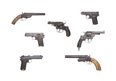 Antique Handguns Collection. Collection of seven Antique Handguns arranged on white background Stock Image