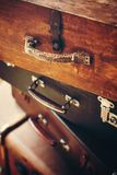 Antique handles of vintage suitcases Royalty Free Stock Photo