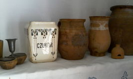 Antique handmade jars containers rustic European peasant Spice containers Royalty Free Stock Images