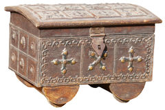 Antique, Handmade Jewelry Chest from India, on a White Backgroun Stock Images