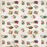 Antique hands with flowers victorian scrap repeat pattern wallpaper. Antique shabby chic rose seamless repeat pattern wallpaper royalty free stock photos