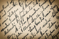 Antique handwriting with a text in undefined language Royalty Free Stock Photos