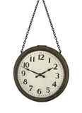 Antique hanging clock isolated Stock Photo
