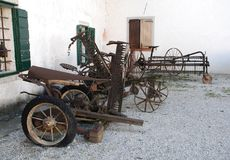 Antique Harvesters and Horse-Drawn Hay Rakes Royalty Free Stock Photo