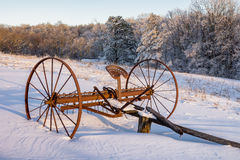 Antique hay rake, Winter scenic, Cumberland Gap National Park. Fresh snow over antique hay rake in the Hensley Settlement area of The Cumberland Gap National Stock Images