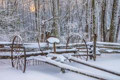 Antique hay rake, Winter scenic, Cumberland Gap National Park. Fresh snow over antique hay rake in the Hensley Settlement area of The Cumberland Gap National Royalty Free Stock Photography