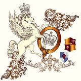 Antique heraldic design with winged horse and shields Stock Images