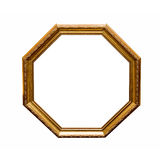 Antique hexahedron frame. Antique wooden hexahedron frame isolated on a white background Royalty Free Stock Image